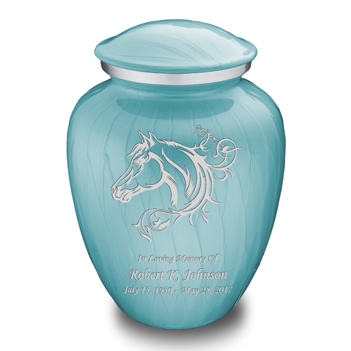 Adult Embrace Pearl Light Blue Horse Cremation Urn