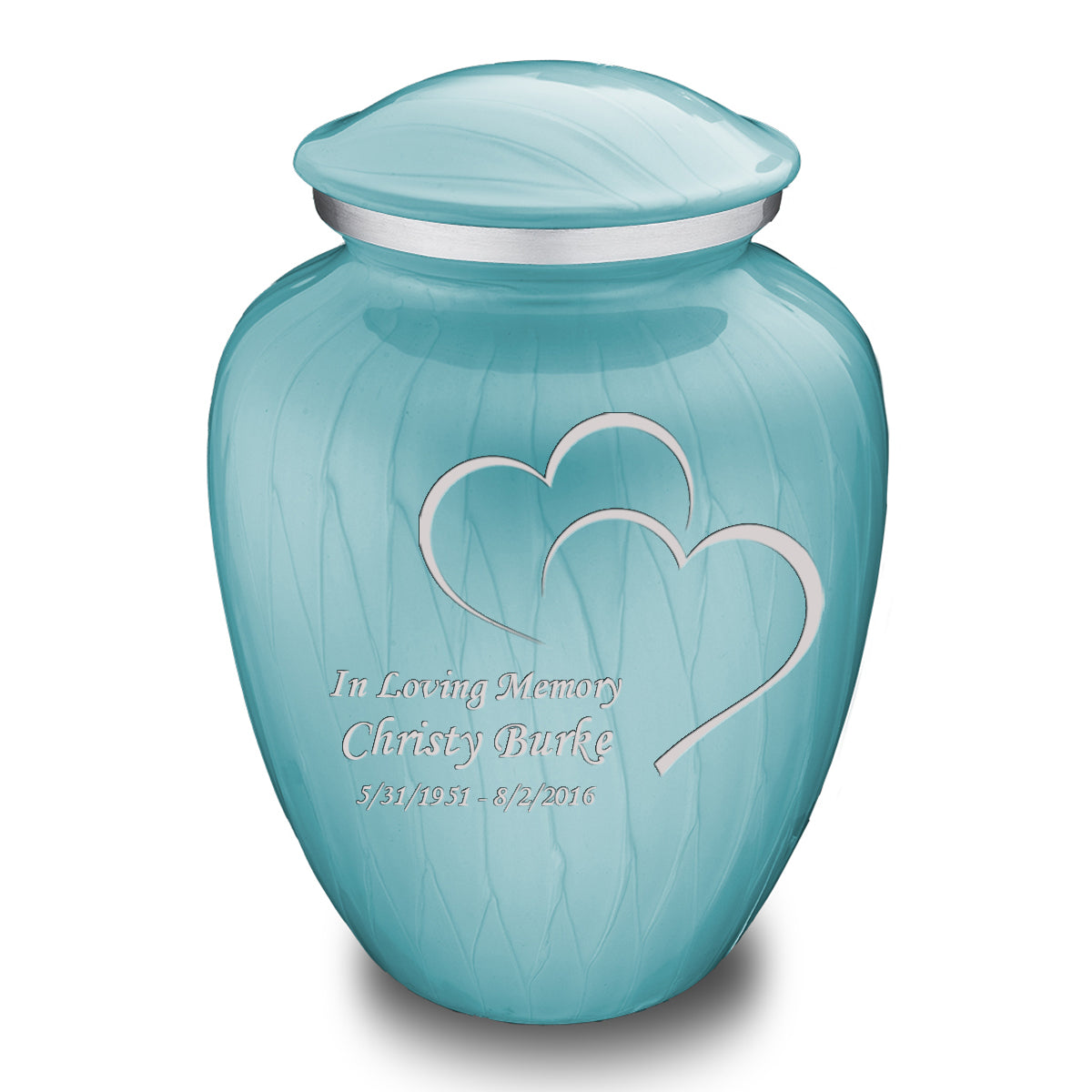 Adult Embrace Pearl Light Blue Hearts Cremation Urn