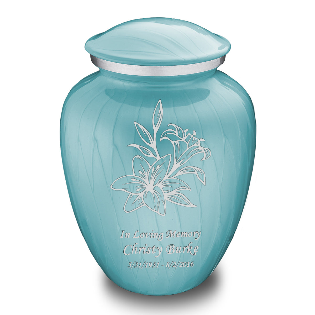 Adult Embrace Pearl Light Blue Lily Cremation Urn