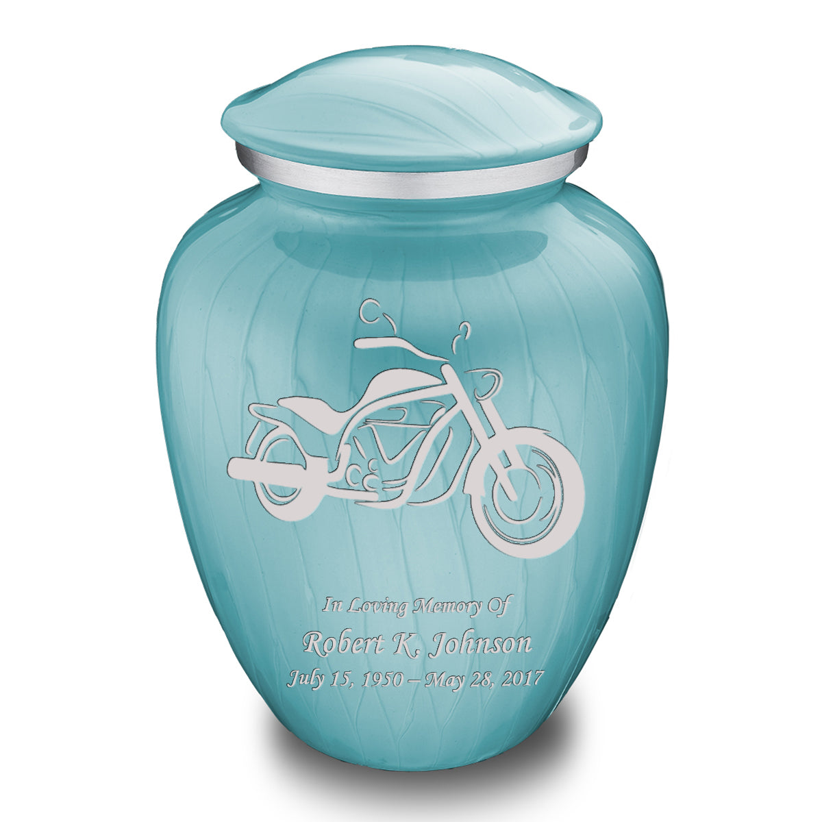 Adult Embrace Pearl Light Blue Motorcycle Cremation Urn