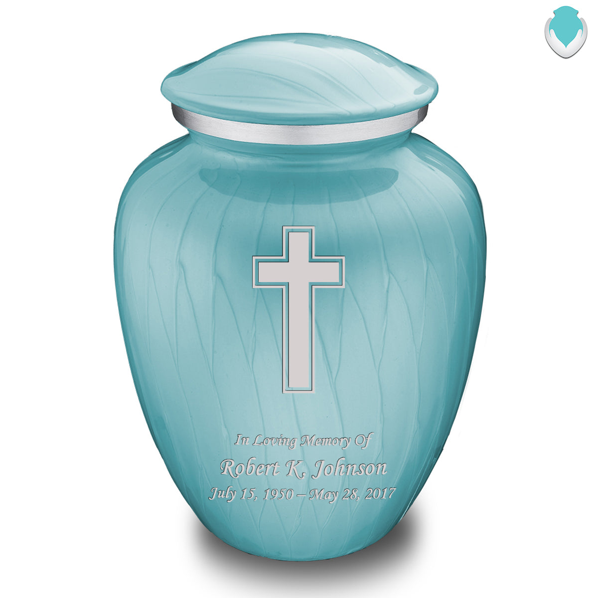 Adult Embrace Pearl Light Blue Simple Cross Cremation Urn