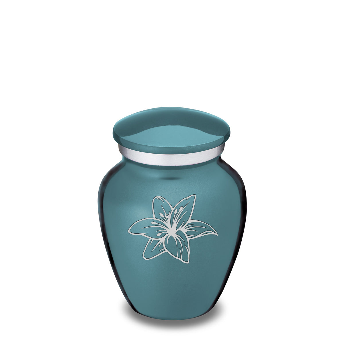 Keepsake Embrace Teal Lily Cremation Urn