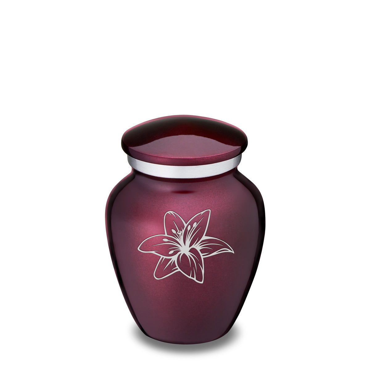 Keepsake Embrace Cherry Purple Lily Cremation Urn