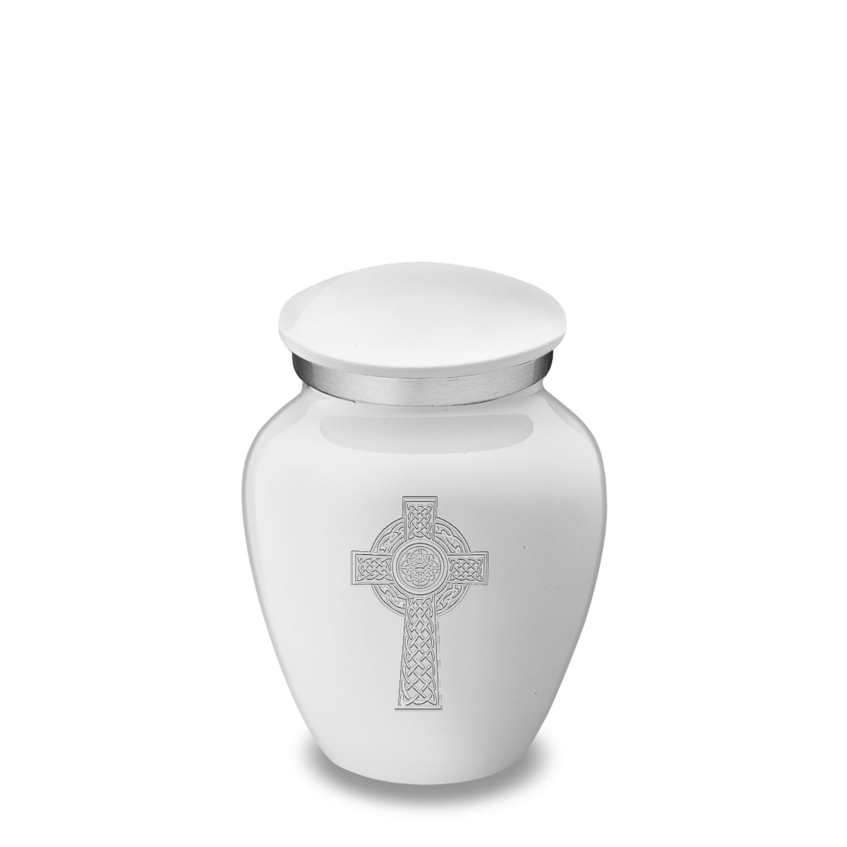 Keepsake Embrace White Celtic Cross Cremation Urn