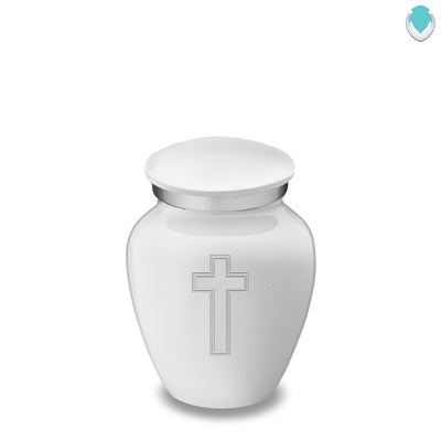 Keepsake Embrace White Simple Cross Cremation Urn