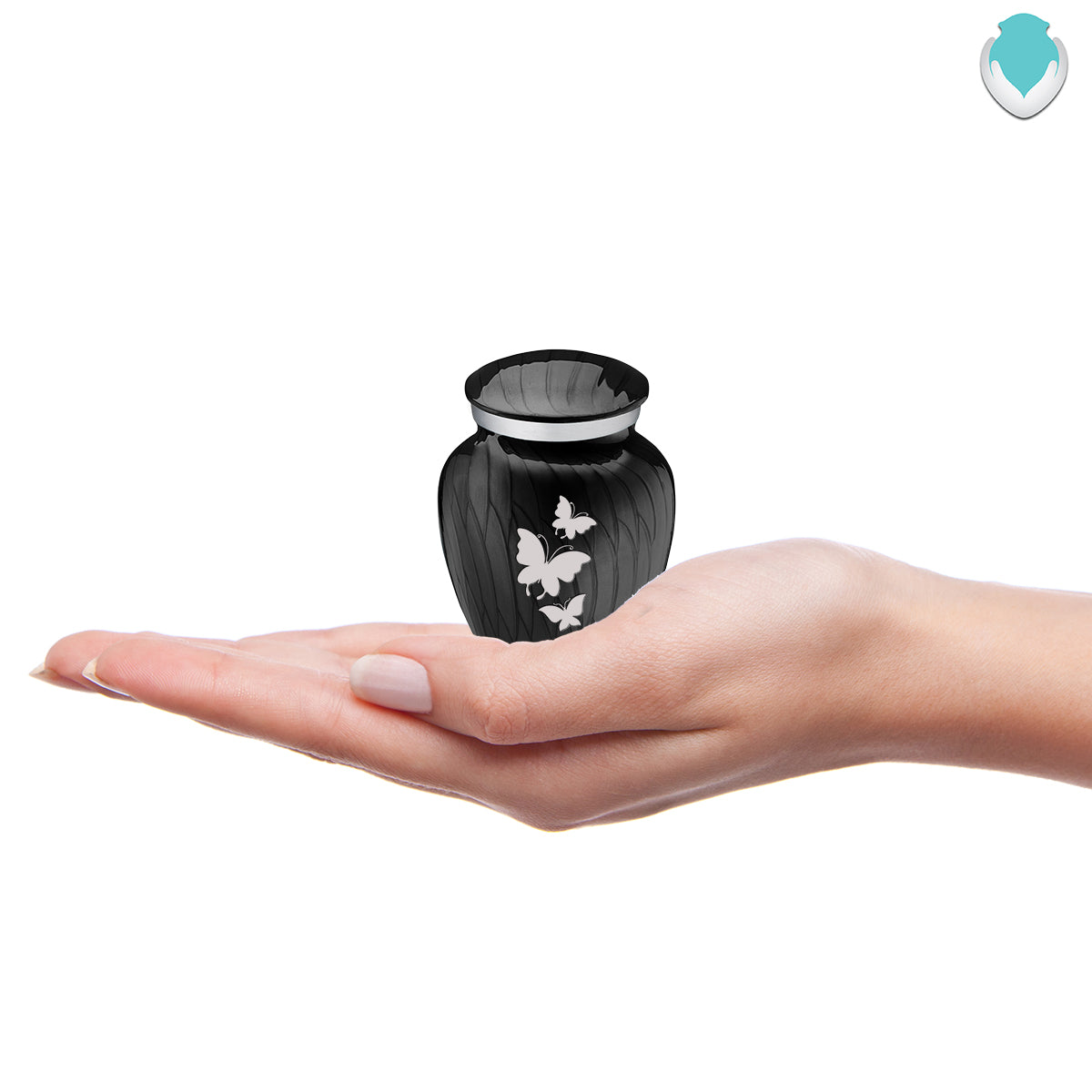 Keepsake Embrace Pearl Black Butterflies Cremation Urn