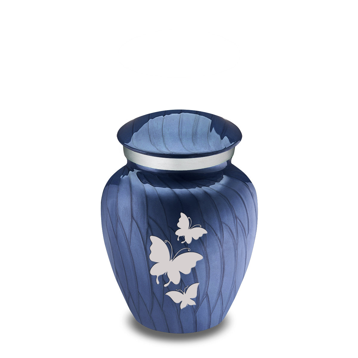Keepsake Embrace Pearl Cobalt Blue Butterflies Cremation Urn