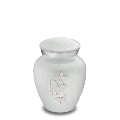 Keepsake Embrace Pearl White Butterflies Cremation Urn