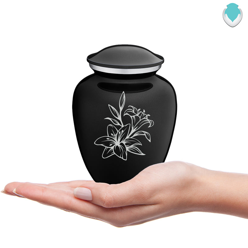 Medium Embrace Black Lily Cremation Urn