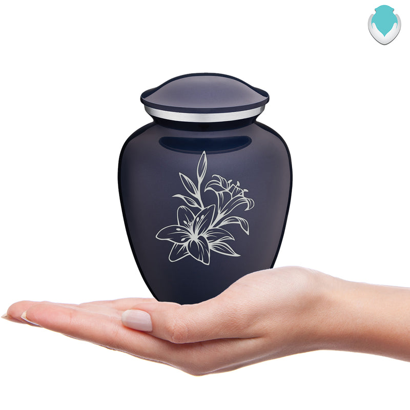 Medium Embrace Cobalt Lily Cremation Urn