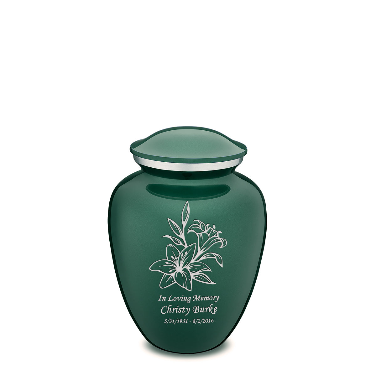 Medium Embrace Green Lily Cremation Urn