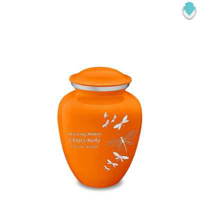 Medium Embrace Burnt Orange Dragonflies Cremation Urn