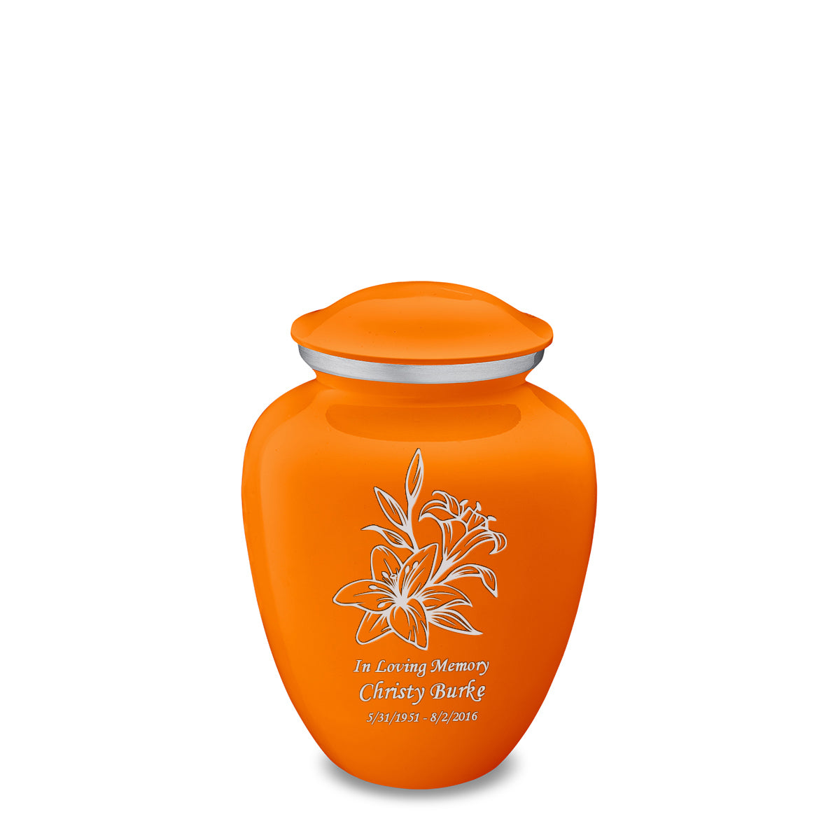 Medium Embrace Burnt Orange Lily Cremation Urn