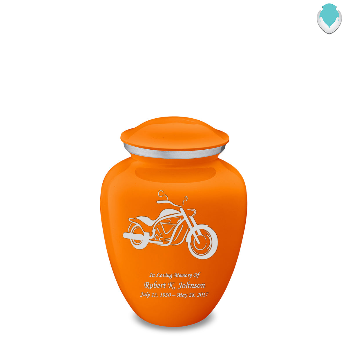 Medium Embrace Burnt Orange Motorcycle Cremation Urn