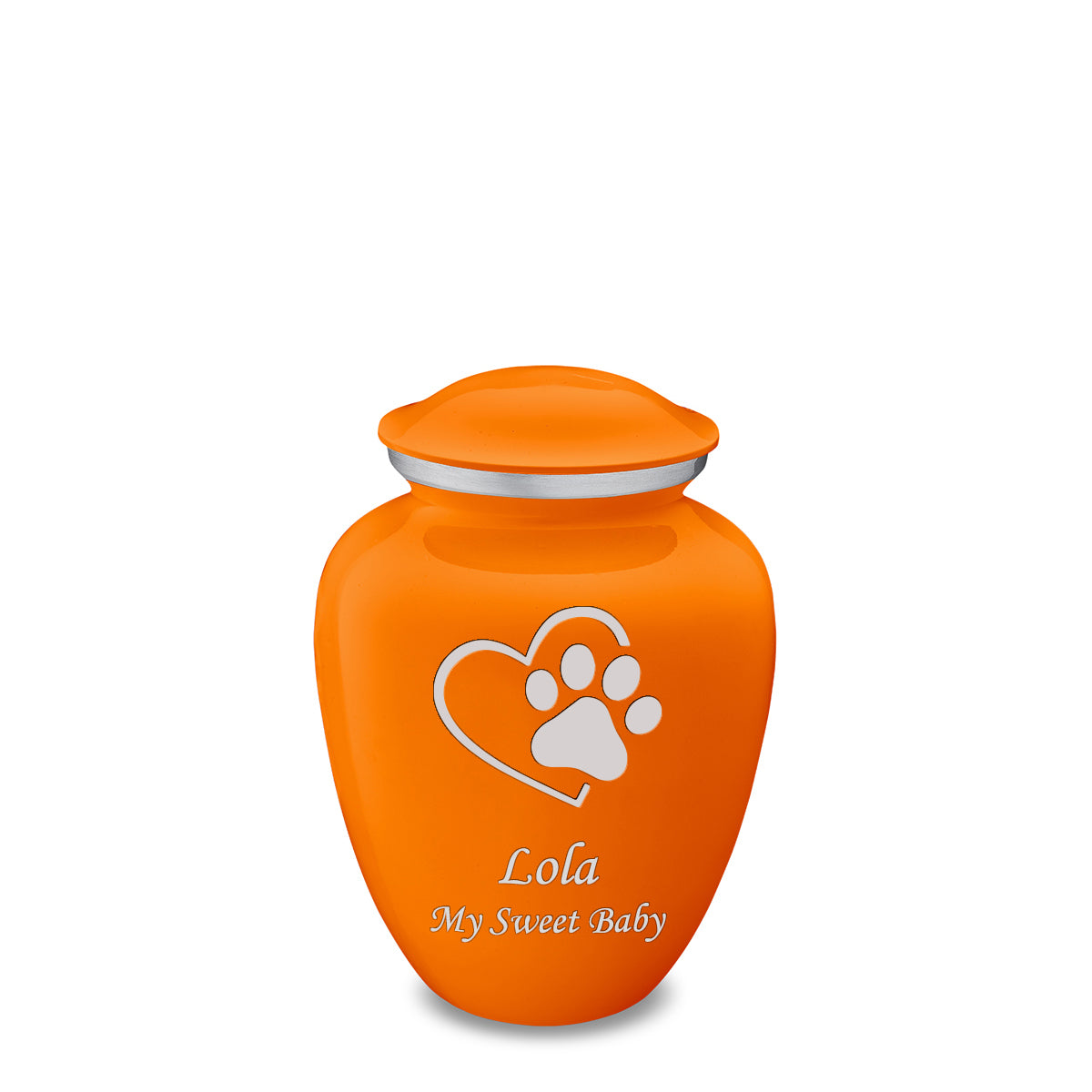 Medium Embrace Burnt Orange Single Heart Paw Pet Cremation Urn