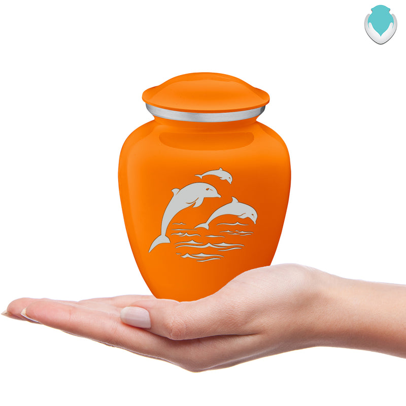 Medium Embrace Burnt Orange Dolphins Cremation Urn