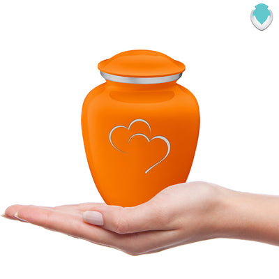 Medium Embrace Burnt Orange Hearts Cremation Urn