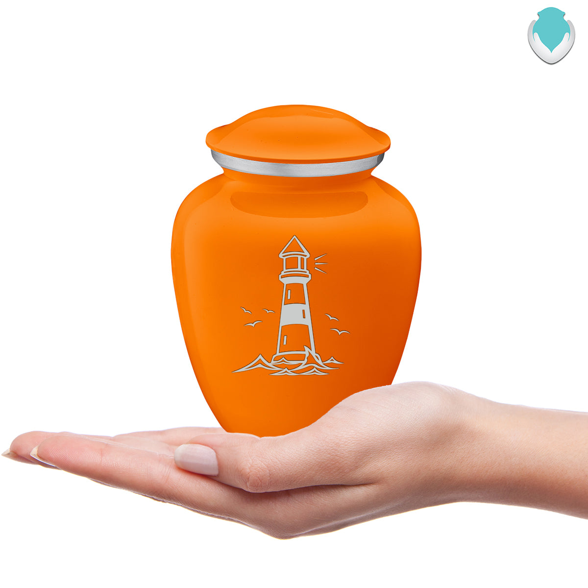 Medium Embrace Burnt Orange Lighthouse Cremation Urn