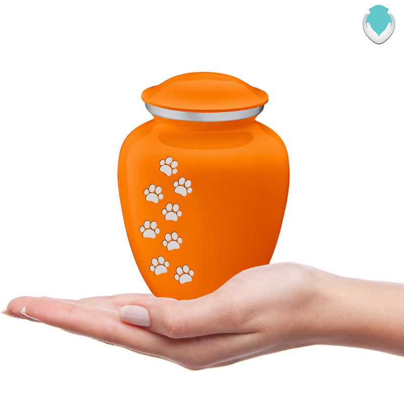 Medium Embrace Burnt Orange Walking Paws Pet Cremation Urn