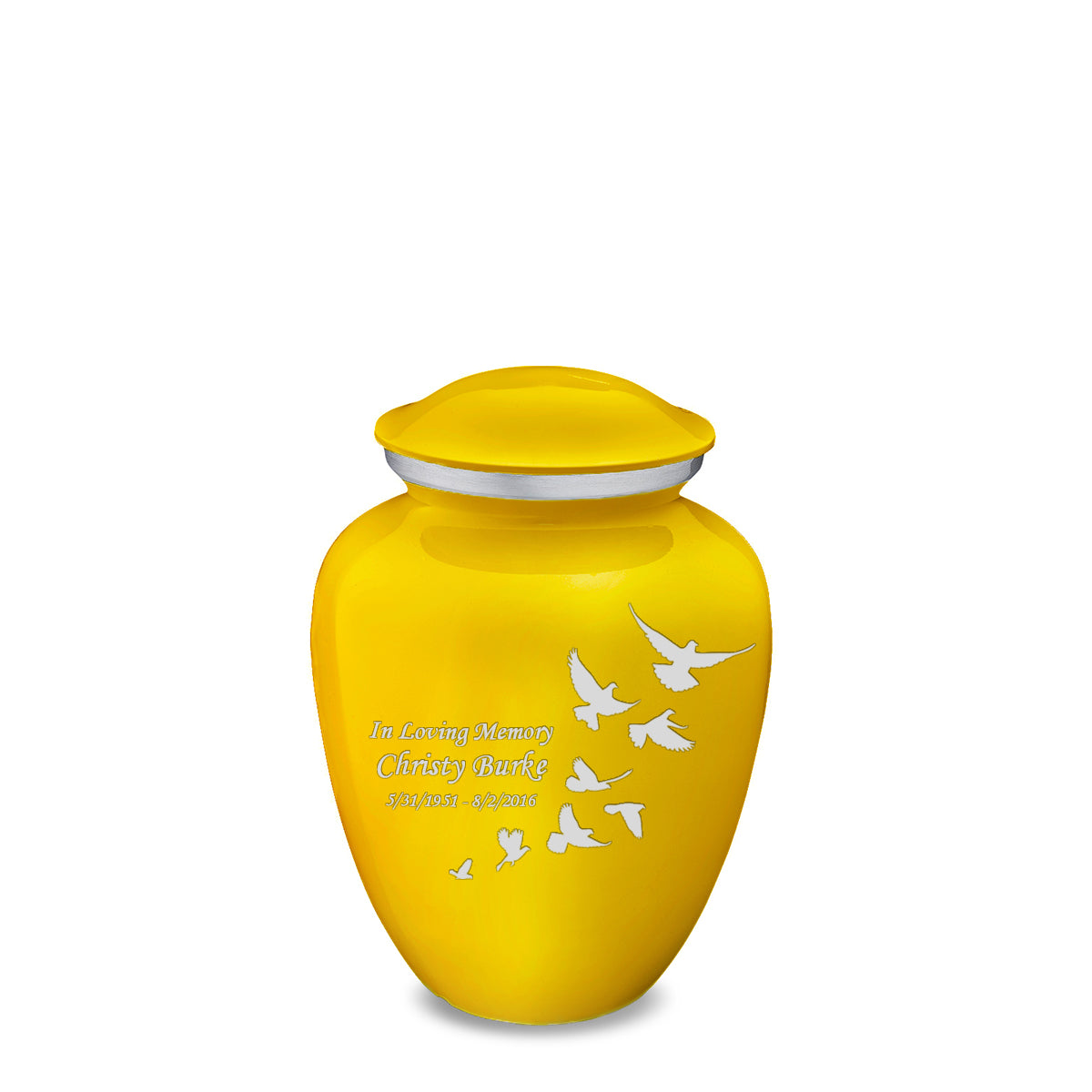 Medium Embrace Yellow Doves Cremation Urn