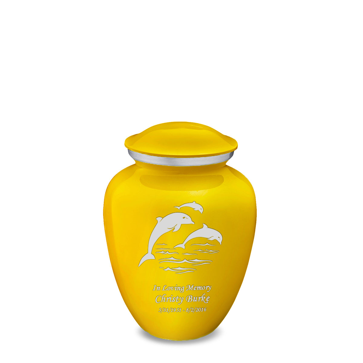 Medium Embrace Yellow Dolphins Cremation Urn
