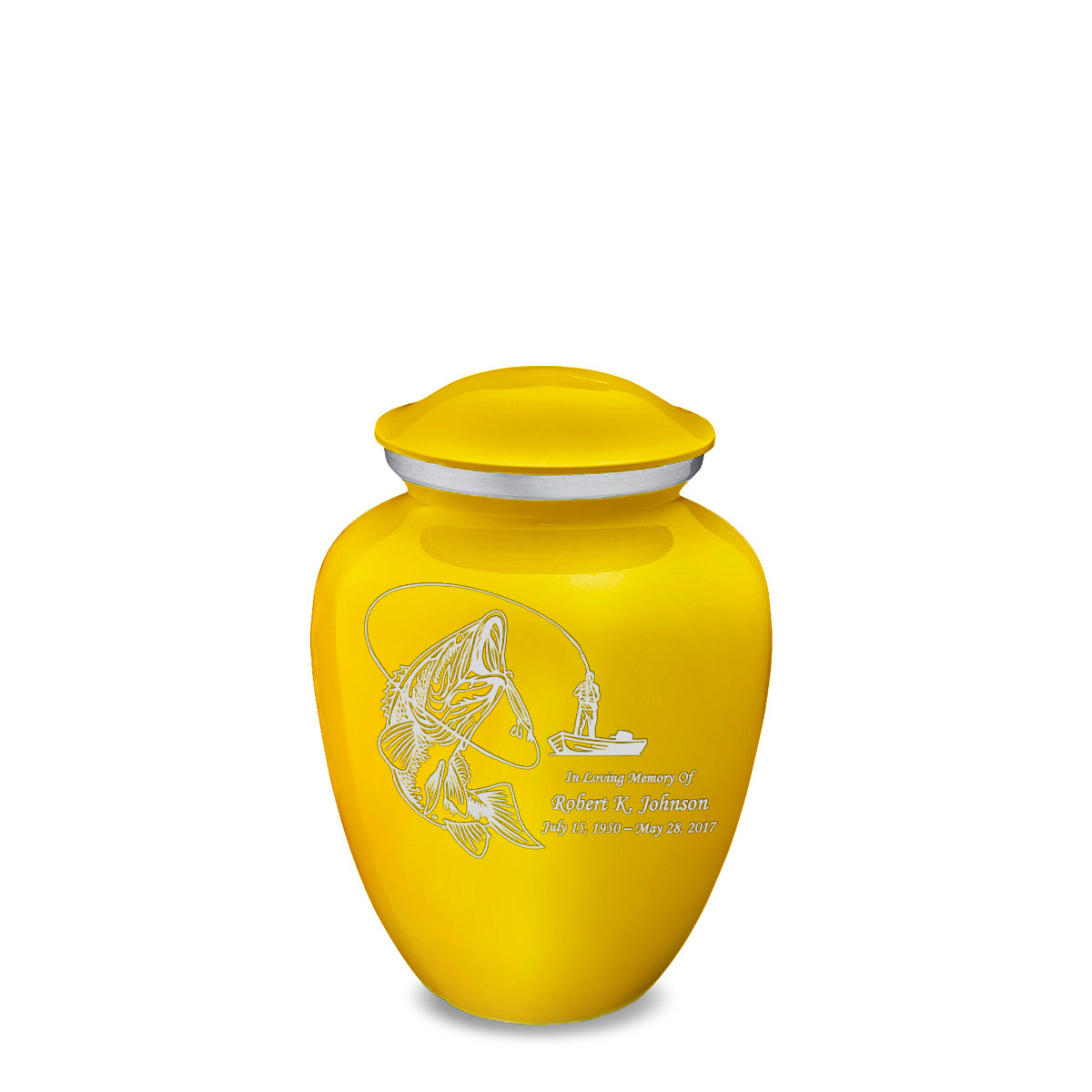 Medium Embrace Yellow Fishing Cremation Urn