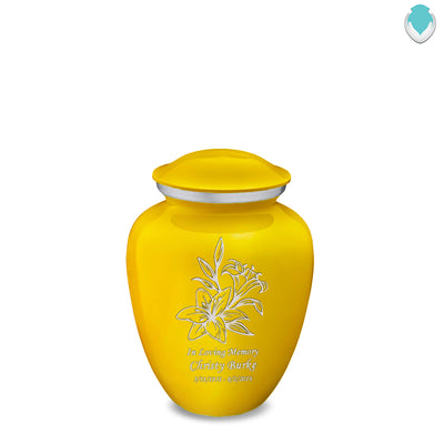 Medium Embrace Yellow Lily Cremation Urn