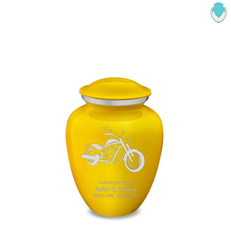 Medium Embrace Yellow Motorcycle Cremation Urn
