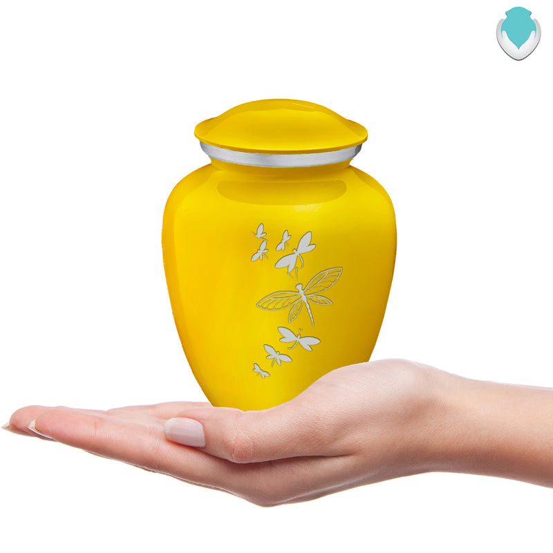 Medium Embrace Yellow Dragonflies Cremation Urn