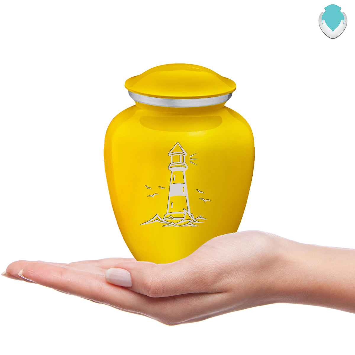 Medium Embrace Yellow Lighthouse Cremation Urn