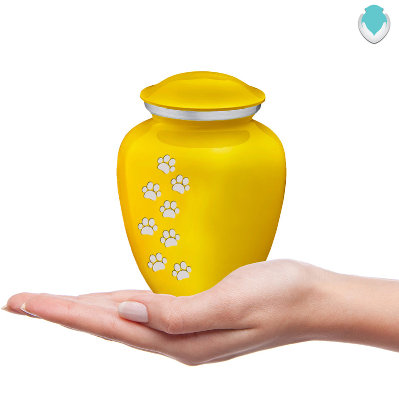 Medium Embrace Yellow Walking Paws Pet Cremation Urn