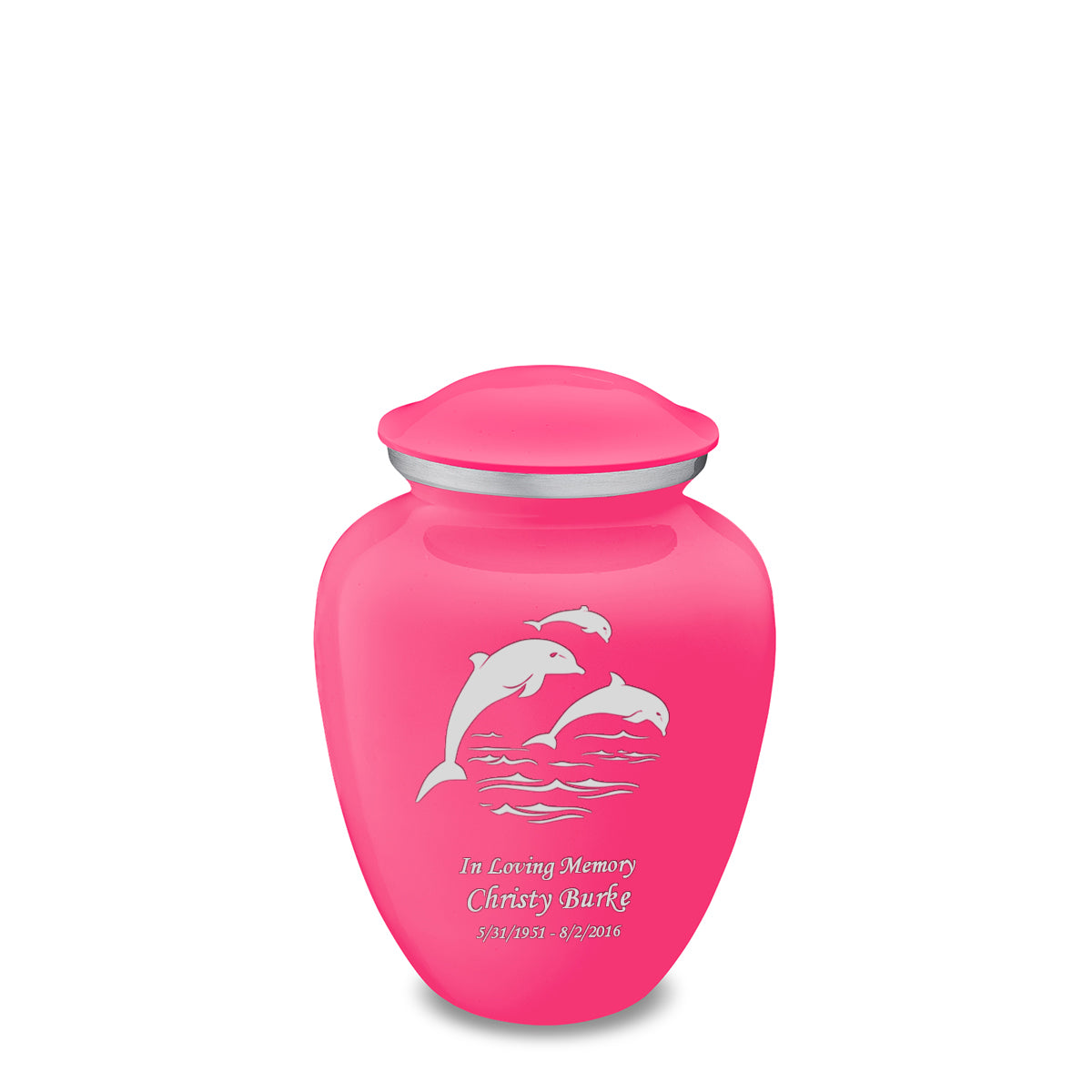 Medium Embrace Bright Pink Dolphins Cremation Urn