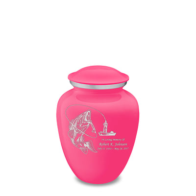 Medium Embrace Bright Pink Fishing Cremation Urn