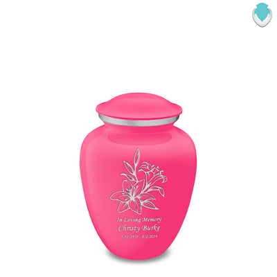 Medium Embrace Bright Pink Lily Cremation Urn