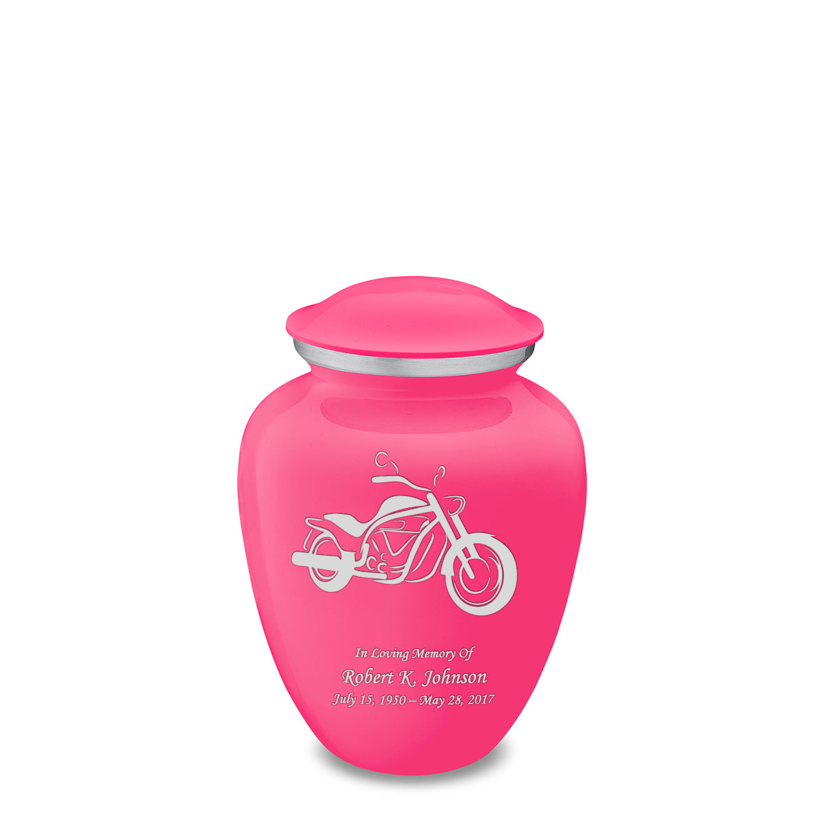 Medium Embrace Bright Pink Motorcycle Cremation Urn