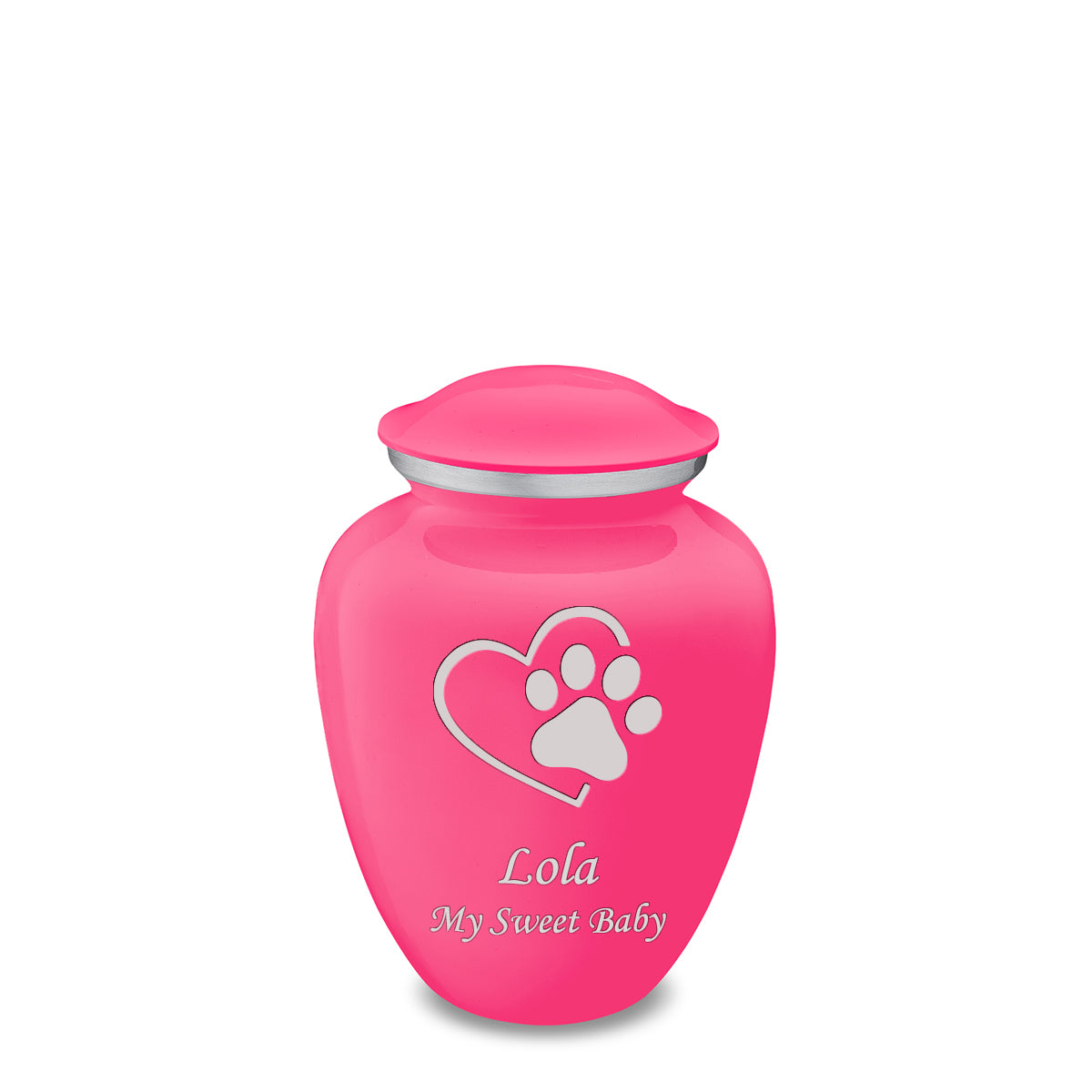 Medium Embrace Bright Pink Single Heart Paw Pet Cremation Urn