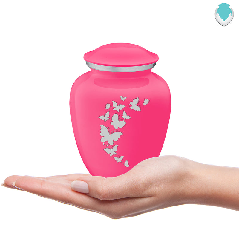 Medium Embrace Bright Pink Butterfly Cremation Urn