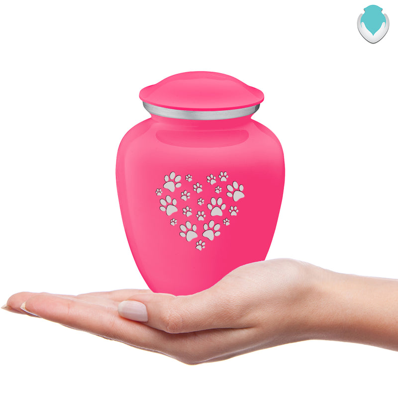 Medium Embrace Bright Pink Heart Paws Pet Cremation Urn