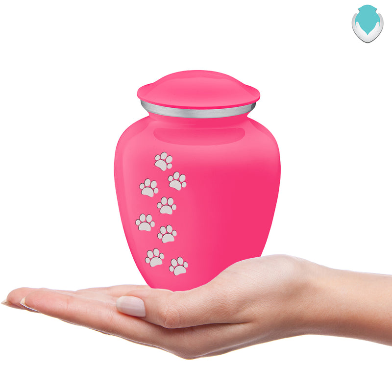 Medium Embrace Bright Pink Walking Paws Pet Cremation Urn