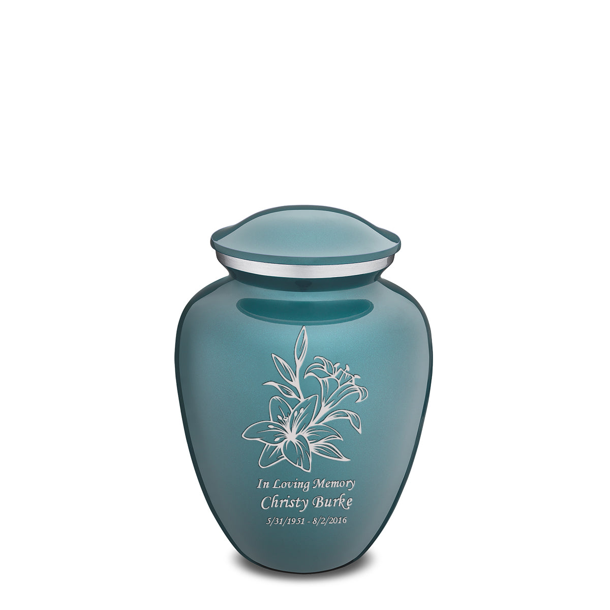 Medium Embrace Teal Lily Cremation Urn