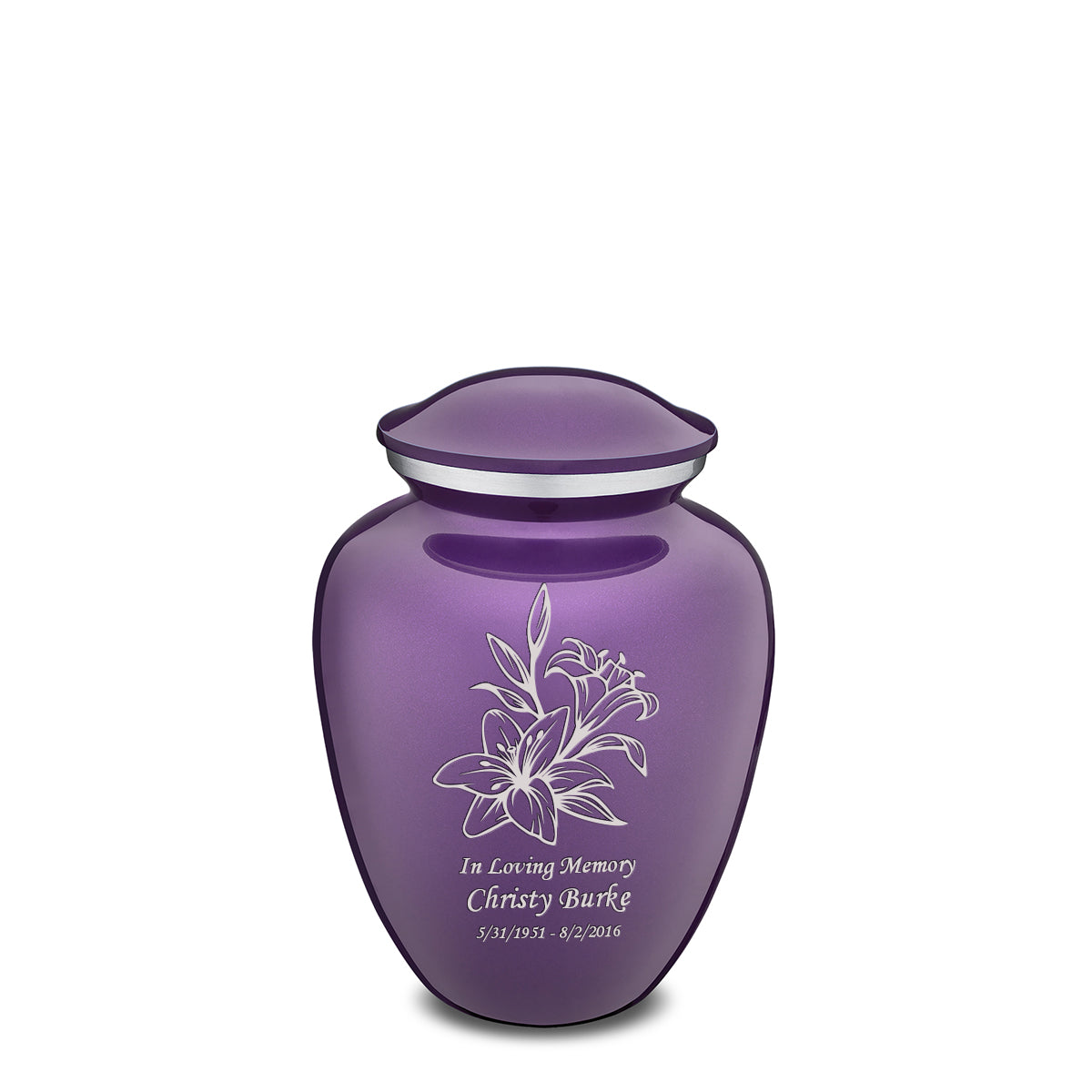 Medium Embrace Purple Lily Cremation Urn