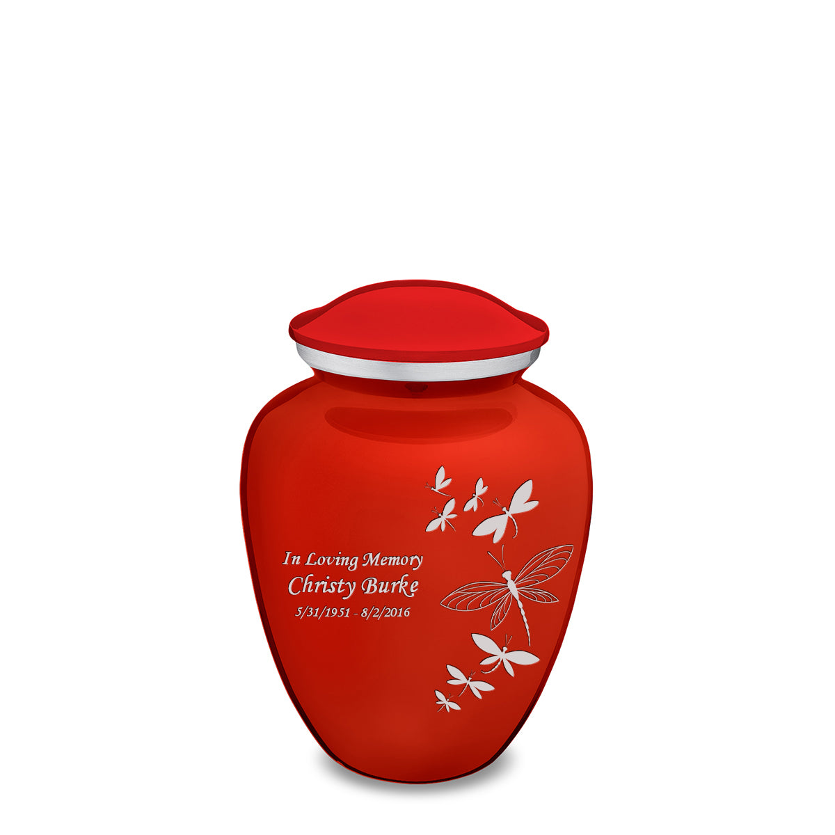 Medium Embrace Bright Red Dragonflies Cremation Urn