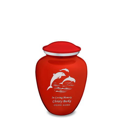 Medium Embrace Bright Red Dolphins Cremation Urn