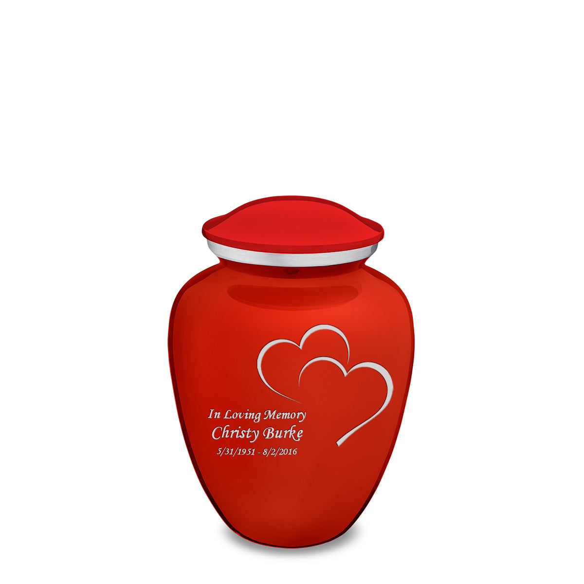 Medium Bright Red Embrace Hearts Cremation Urn