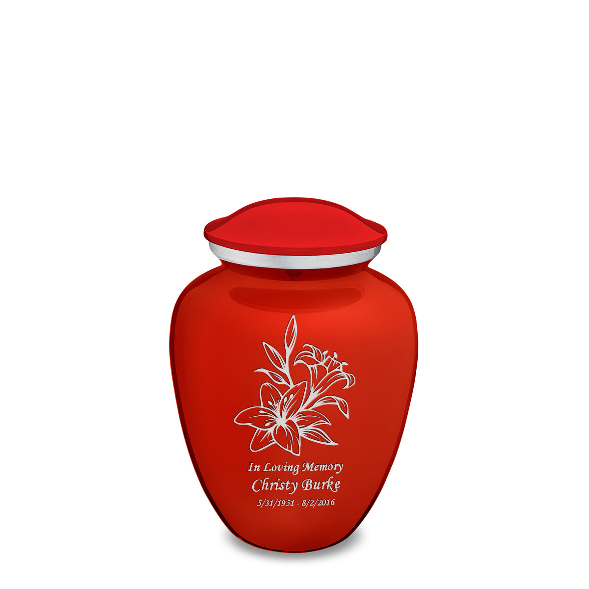 Medium Embrace Bright Red Lily Cremation Urn