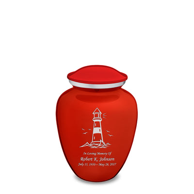 Medium Embrace Bright Red Lighthouse Cremation Urn