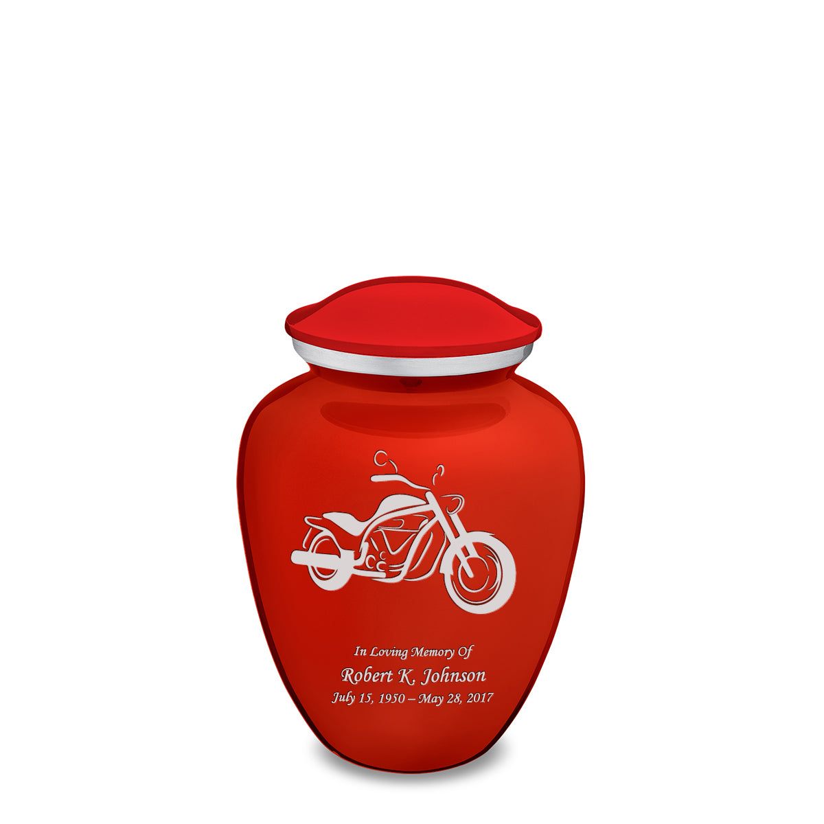Medium Embrace Bright Red Motorcycle Cremation Urn