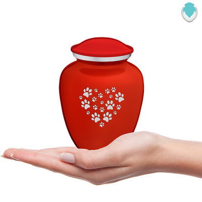 Medium Embrace Bright Red Heart Paws Pet Cremation Urn