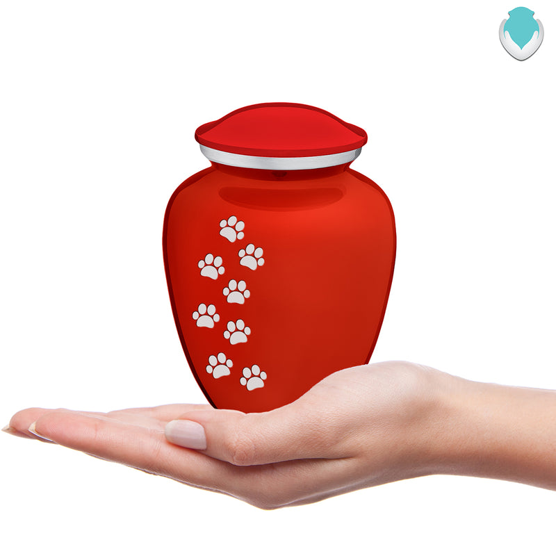 Medium Embrace Bright Red Walking Paws Pet Cremation Urn