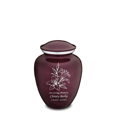 Medium Embrace Cherry Purple Lily Cremation Urn